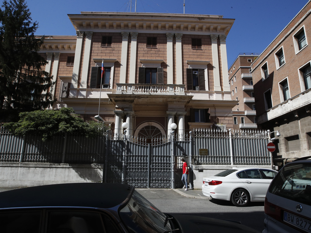 The Russian Embassy in Rome on Wednesda. Italy has ordered two Russian Embassy officials expelled and arrested an Italian Navy captain on spying charges after police caught the Italian allegedly giving classified documents to one of the Russians in exchange for money.