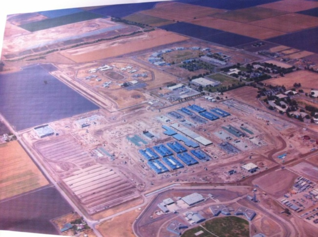 Arial view of 144-acre construction site for nation's largest prison health care facility in Stockton, California.