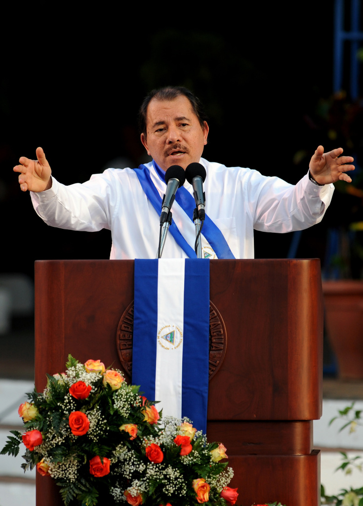 Nicaraguan President Daniel Ortega delivers a speech during the celebration of his three years in the government in Managua, on January 9, 2010.