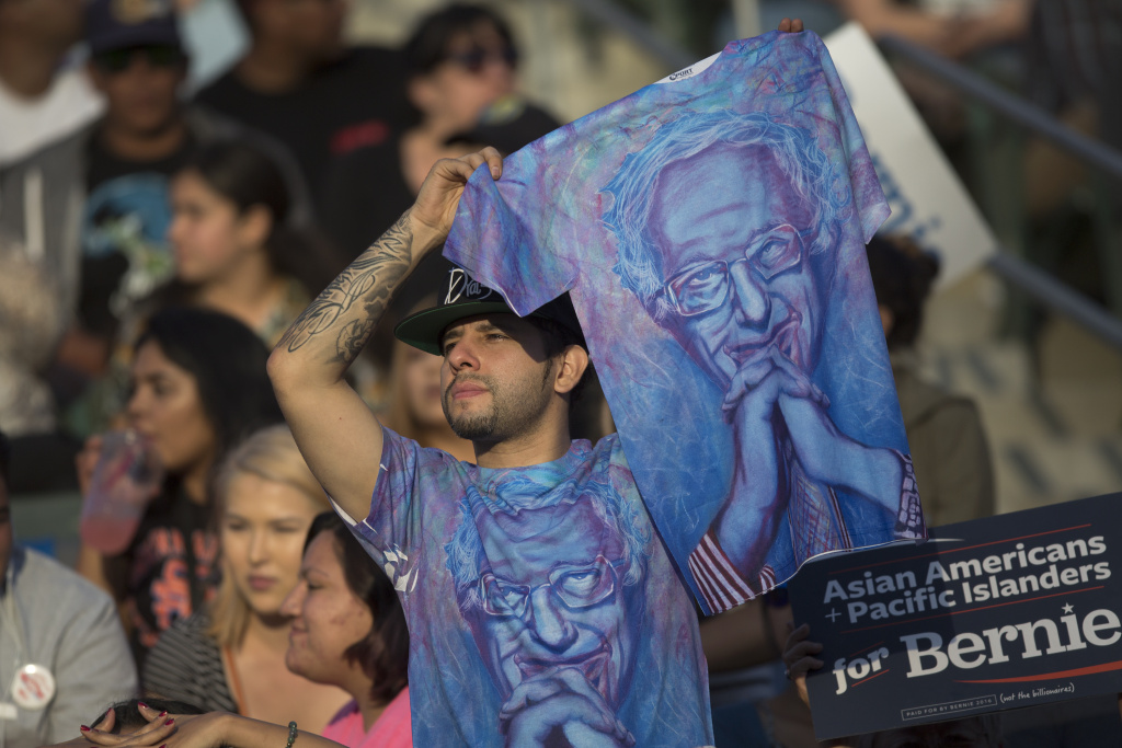 A supporter at a Sanders campaign rally at California State University, Dominguez Hills on May 17, 2016 in Carson, California.