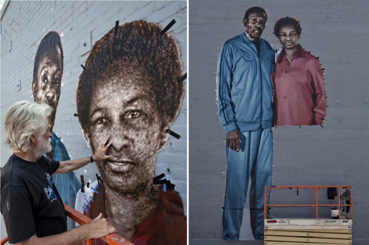 Kent Twitchell installs a mural of Special Olympics icons Rafer Johnson and Loretta Claiborne in Downtown Los Angeles.