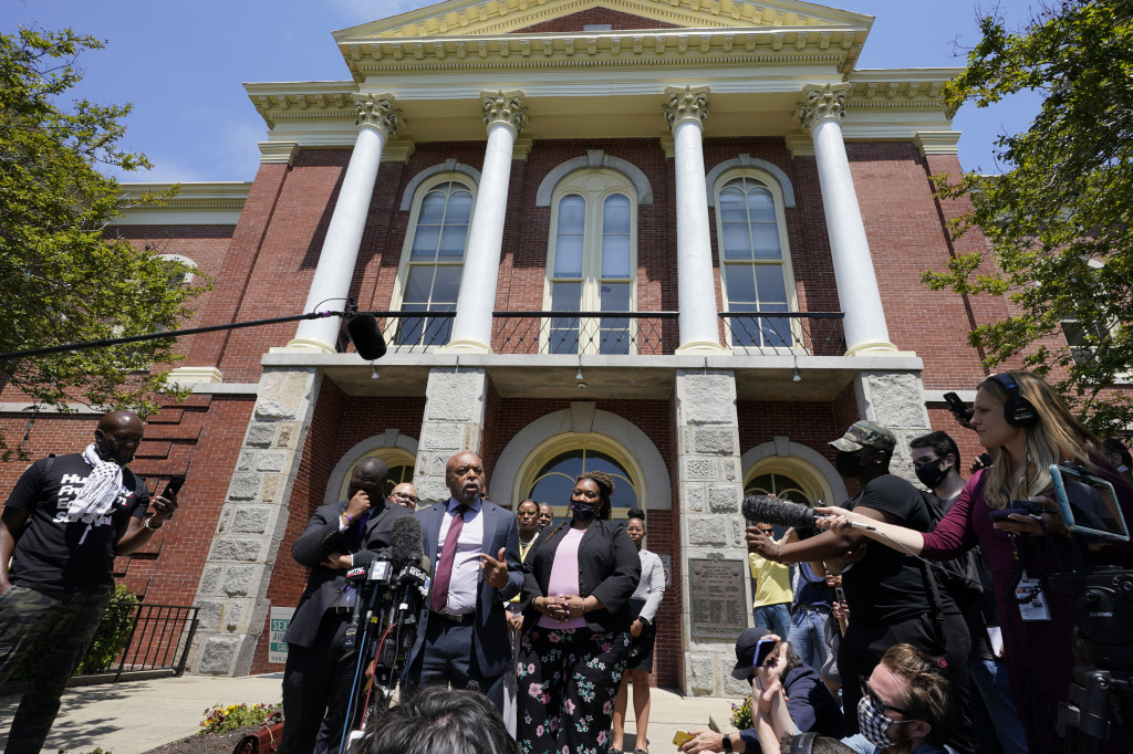 Attorneys for the family of Andrew Brown Jr. speak after a judge denied their request to immediately release body cam videos to the public of the fatal shooting of Brown in Elizabeth City, N.C.