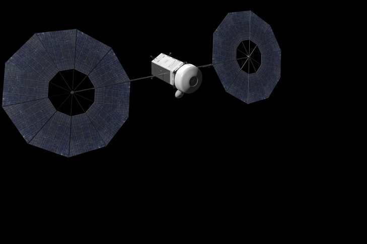 A concept of a solar electric propulsion-based spacecraft during NASA's mission to find, rendezvous with, capture and relocate an asteroid to a stable point in the lunar vicinity before sending humans to it.