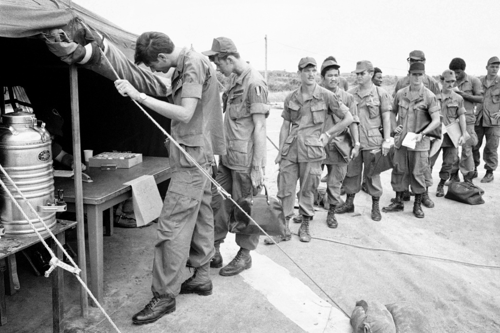 U.S. soldiers at Long Binh base in South Vietnam.