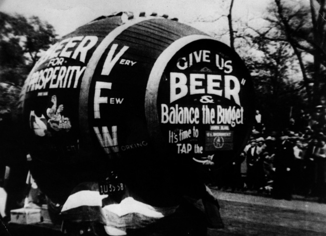 A giant barrel of beer, part of a demonstration against prohibition in America