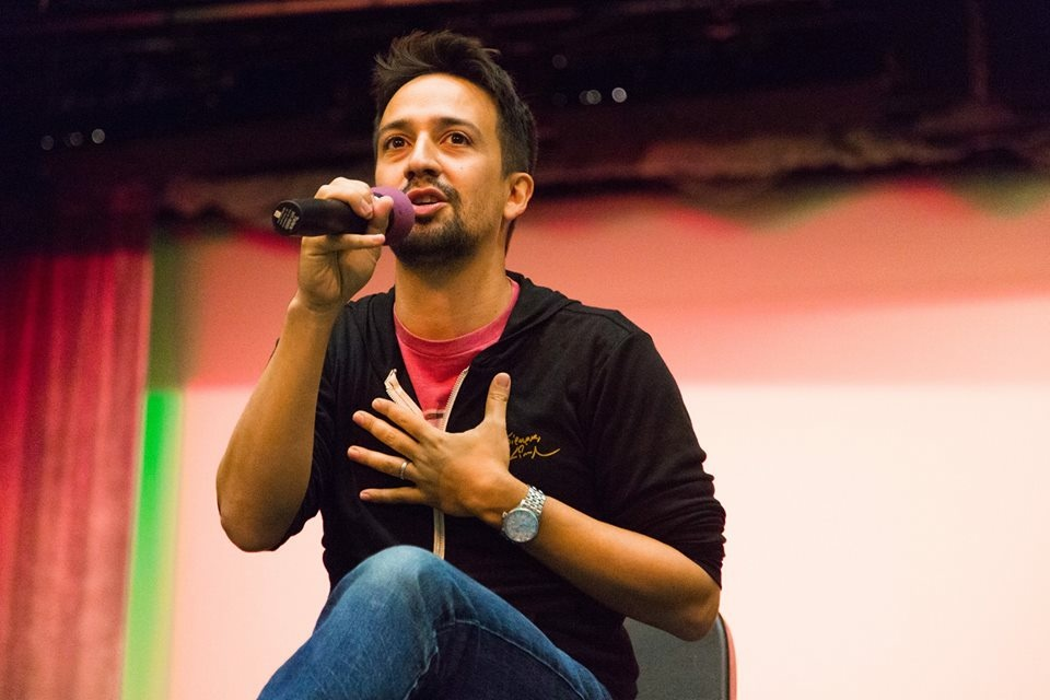 Hamilton star Lin-Manuel Miranda speaks to the students at Panorama High School during a surprise visit.