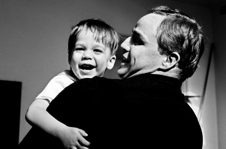 Marlon Brando with young Christian Brando in an archival still from the Showtime documentary, 'Listen to Me Marlon.'