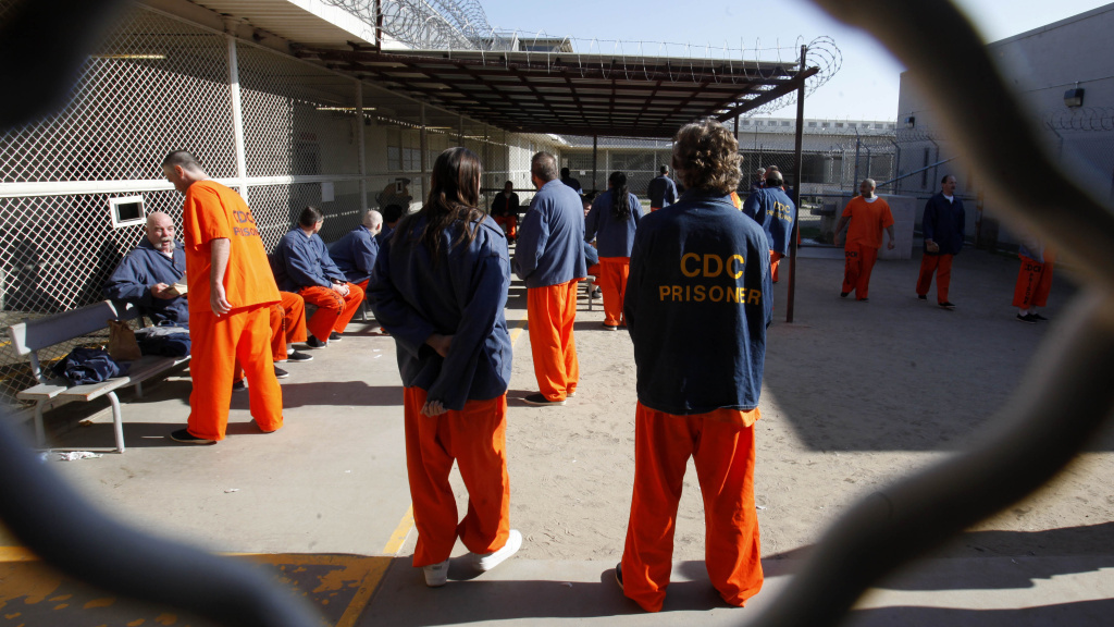 Inmates in a recreation yard at the Deuel Vocational Institution in Tracy, Calif. California is trying to address court-ordered reductions in overcrowding with a plan to shift thousands of those convicted of