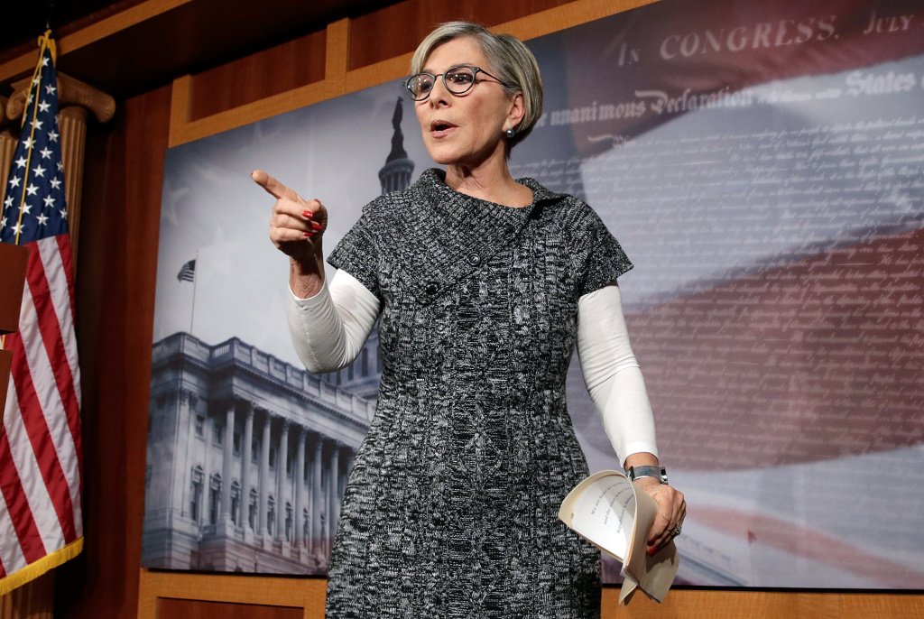Sen. Barbara Boxer (D-CA) speaks during a press conference to highlight measures in the House version of a government shutdown bill that would deny women affordable contraception and other health care benefits that are provided under the Affordable Care Act.