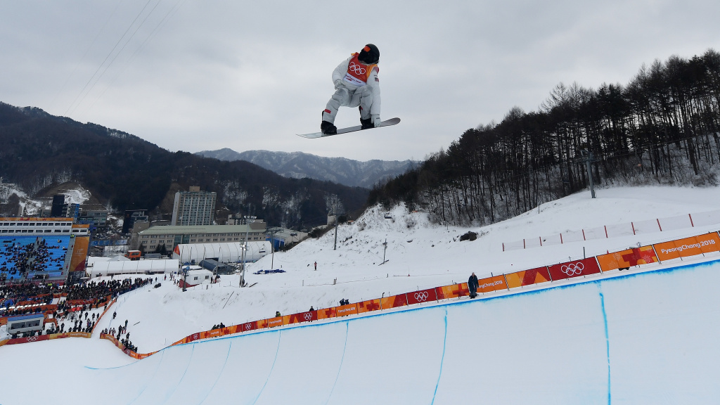 Shaun White of the U.S. warms up ahead of the men's final in the snowboard halfpipe at the Winter Olympics in Pyeongchang, South Korea.