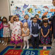In this file photo, students at Stanley Mosk Elementary School in Winnetka line up to sing a song for their parents. As the Los Angeles Unified 2014/2015 school year got underway, some kindergarteners were mistakenly placed on high school roll sheets due to problems with a new attendance system.