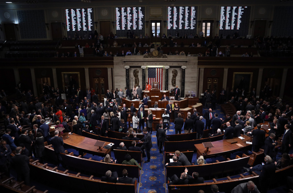 The U.S. House of Representatives votes on a resolution formalizing the impeachment inquiry centered on U.S. President Donald Trump October 31, 2019 in Washington, DC.