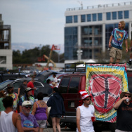 SANTA CLARA, CA - JUNE 27: Grateful Dead fans gather in the parking lot before the Grateful Dead show at Levi's Stadium on June 27, 2015 in Santa Clara, California. The Grateful Dead is kicking off their 50th anniversary tour with shows in Santa Clara, California and Chicago. (Photo by Justin Sullivan/Getty Images)
