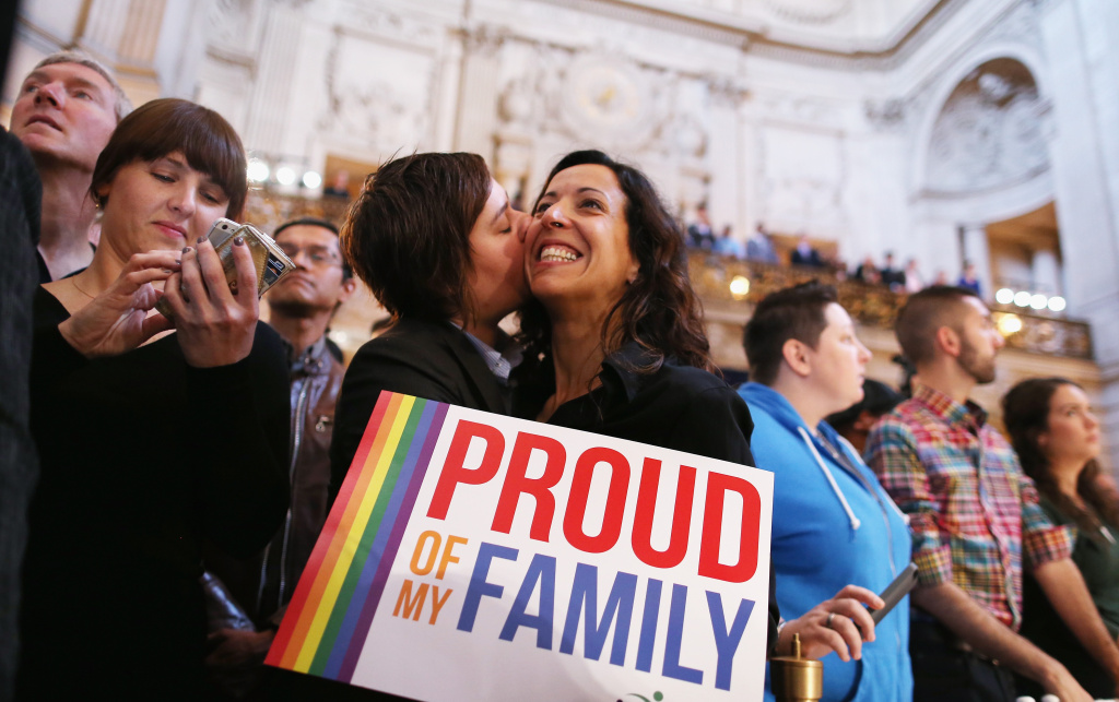 A couple celebrates upon hearing the U.S. Supreme Court's rulings on gay marriage in City Hall June 26, 2013 in San Francisco, United States. The high court struck down DOMA, and will rule on California's Prop 8 as well.