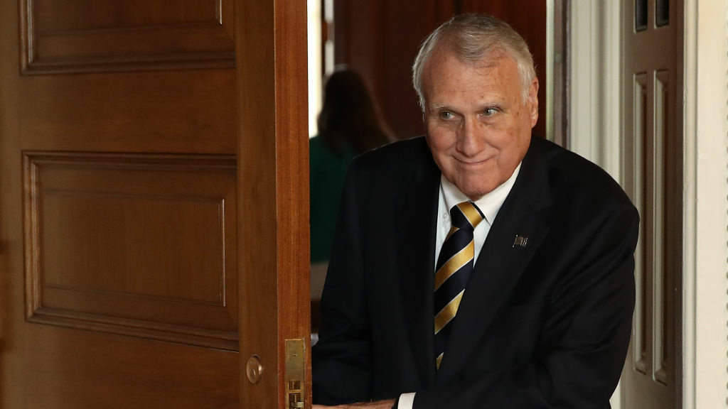 Sen. Jon Kyl, R-Ariz., departs the weekly Republican policy luncheon in September.