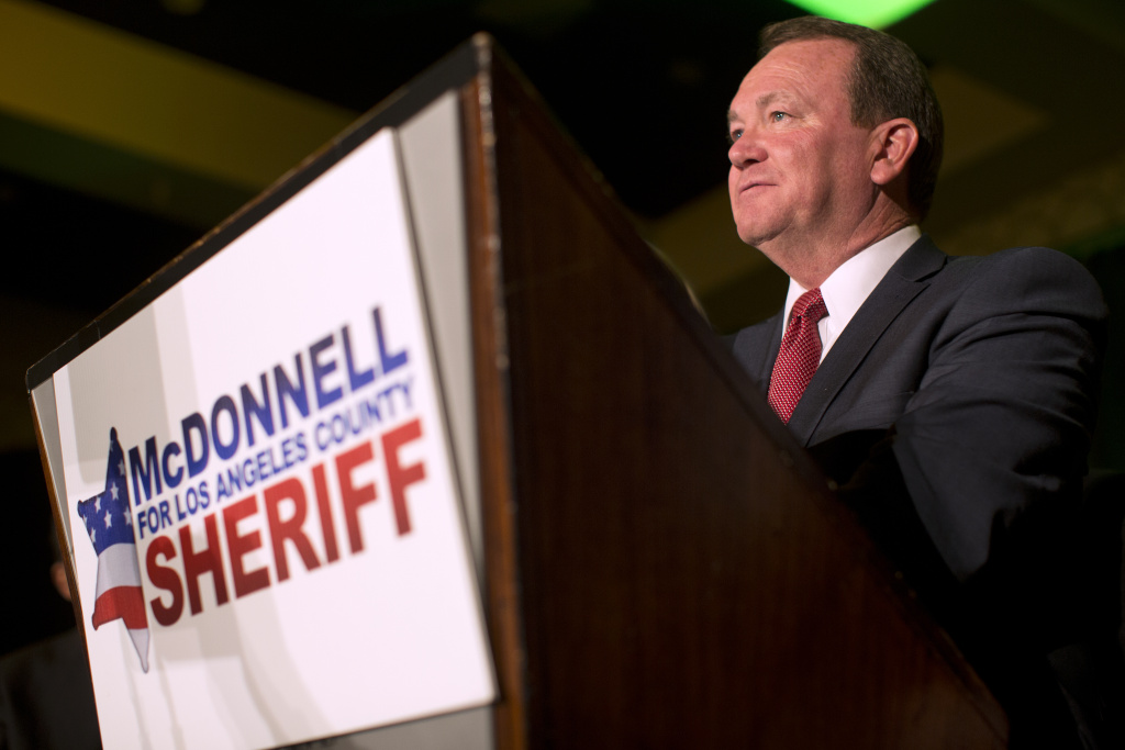 Los Angeles County Sheriff candidate Jim McDonnell speaks to supporters during his election party on Tuesday night, Nov. 4, 2014 at the JW Marriott at LA Live.