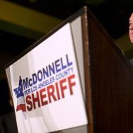 Los Angeles County Sheriff Jim McDonnell, speaking to supporters during his election party on Tuesday night, Nov. 4, 2014 at the JW Marriott at LA Live.