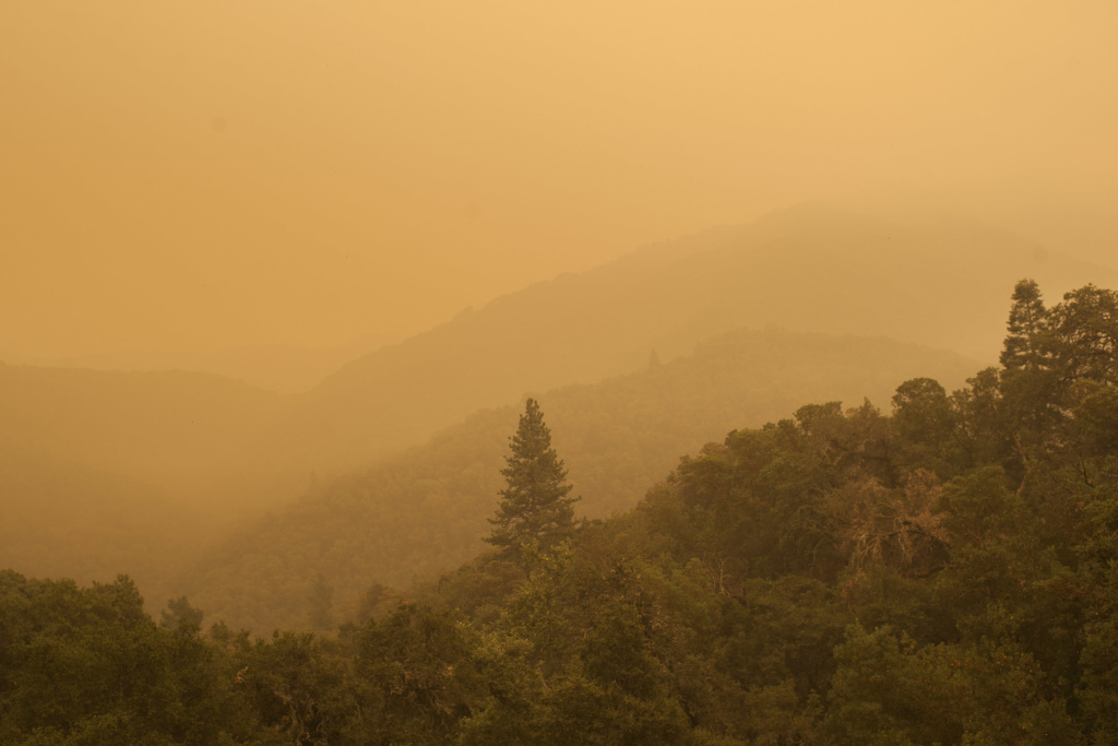 Smoke from the Soberanes Fire spreads over woods, as seen from White Rock in Carmel Valley, southeast of Monterey, Calif., Wednesday, July 27, 2016.
