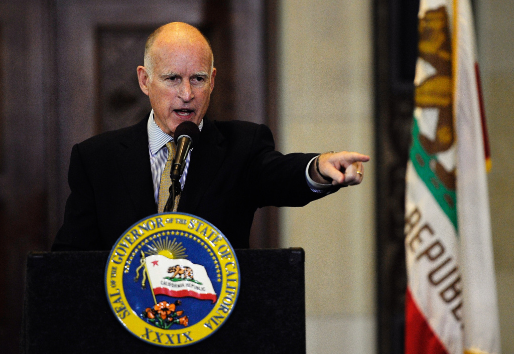 Gov. Jerry Brown speaks during a speech at Los Angeles City Hall to discuss the state budget and a ballot measure to raise taxes.