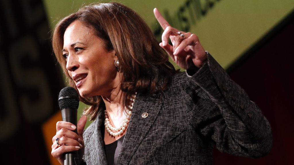 Sen. Kamala Harris, D-Calif., speaks at Vote For Justice: An Evening of Empowerment with activists and artists at the Newseum in May 2018.