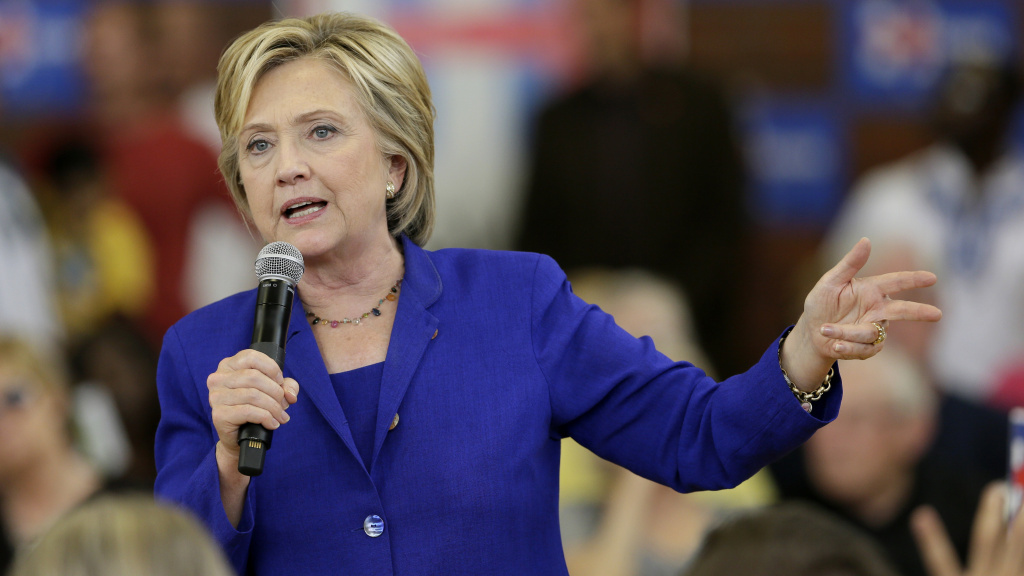 Democratic presidential candidate Hillary Clinton speaks during a community forum on health care at Moulton Elementary School in Des Moines, Iowa.