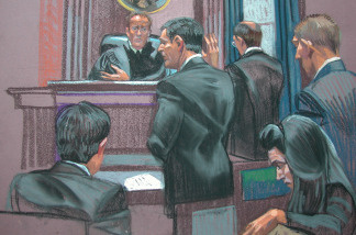 This court drawing shows Frank DiPascali (C), Bernard Madoff's right-hand man, taking the oath before being charged at the New York Federal court on August 11, 2009.
