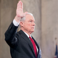 Sen. Jeff Sessions, R-Ala., is sworn in before testifying during the Senate Judiciary Committee hearing on his confirmation hearing in January 2017 to be attorney general.