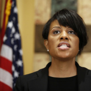 Mayor Stephanie Rawlings-Blake speaks during a media availability at City Hall, on Friday. The mayor announced Sunday that she was lifting a week-long 10 p.m. curfew that followed civil unrest over the death of Freddie Gray from injuries he sustained in police custody.
