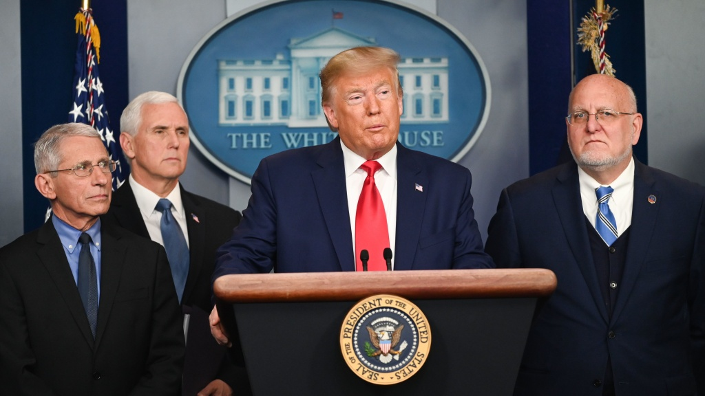 President Trump speaks at the White House about the U.S. response to the spread of the novel coronavirus.