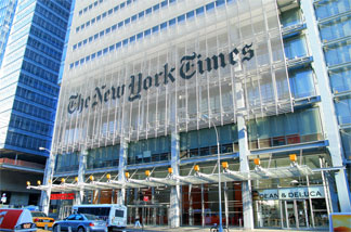 The New York Times building in New York City.