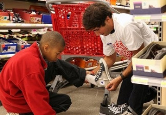 Trying on Shoes at Target, thanks to the Salvation Army