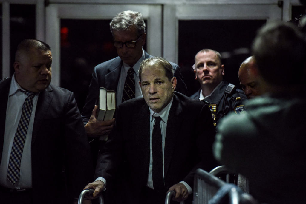 Harvey Weinstein leaves the courtroom in New York City criminal court on January 6, 2020 in New York City.