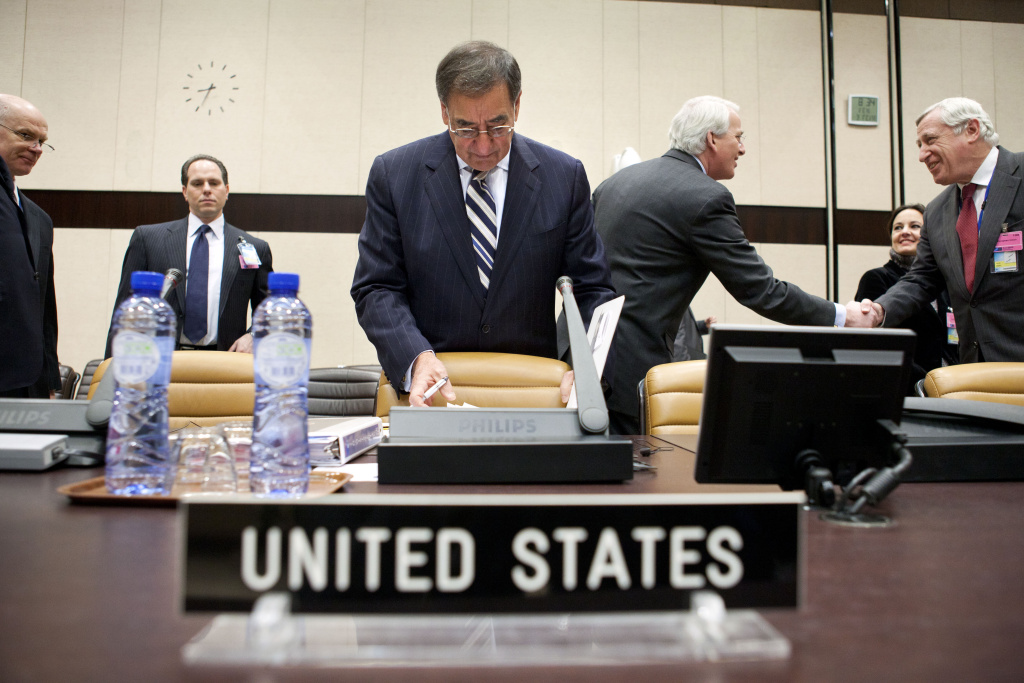 U.S. Defense Secretary Leon Panetta looks through documents on arrival at NATO Headquarters to attend a series of NATO Ministers of Defense meeting on February 3, 2012 in Brussels, Belgium. According to reports the U.S. Defense Secretary has expressed concerns over the possibilty of an attack on Iran by Israel. Yesterday, Panetta, spoke of the agreement of NATO allies to step back the lead combat role in Afghanistan.