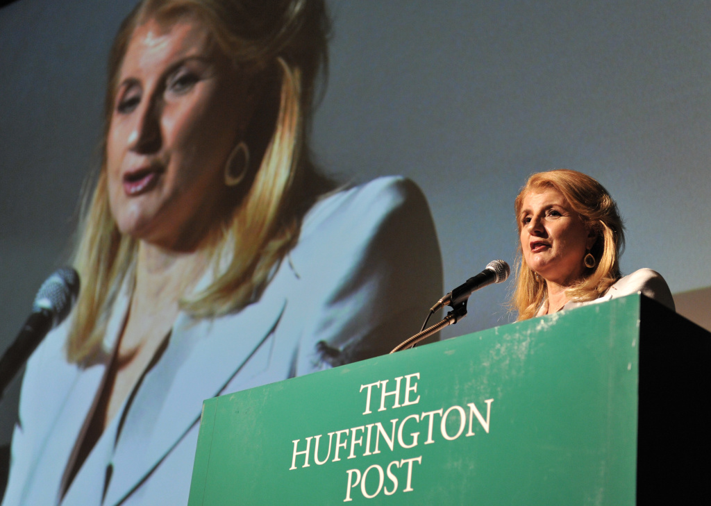 Founder of the Huffington Post Arianna Huffington delivers a speech during a press conference in Tokyo on May 7, 2013.