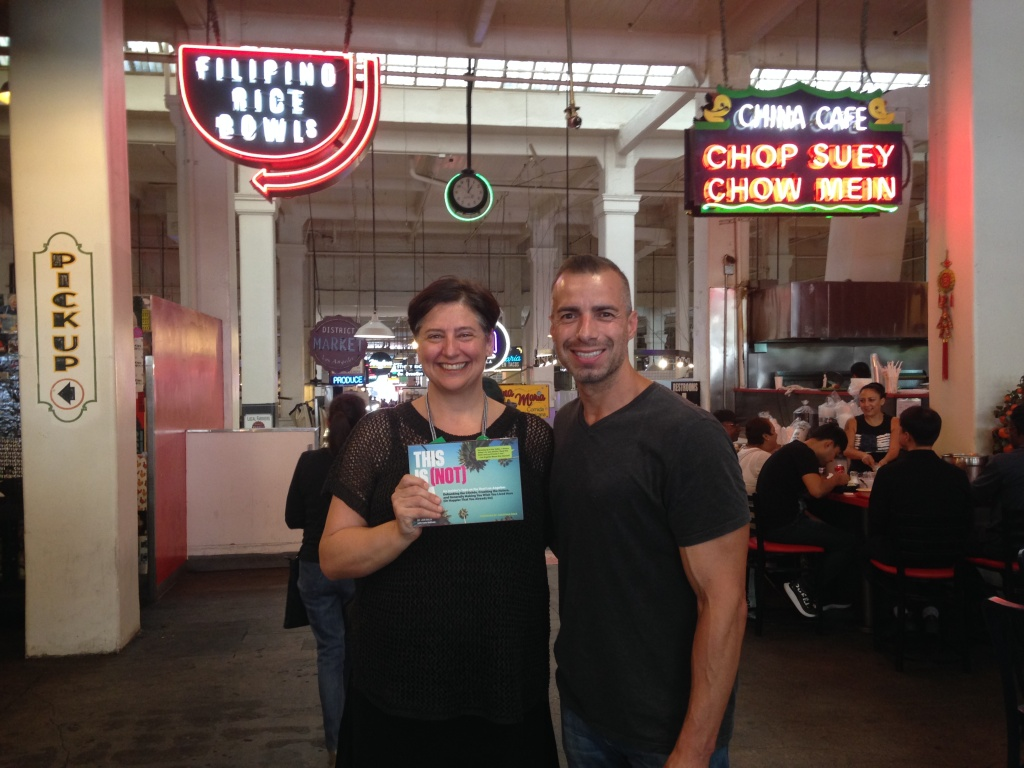 Take Two host, A Martinez, and 'This is (Not) LA' author, Jen Bilik, at Grand Central Market.