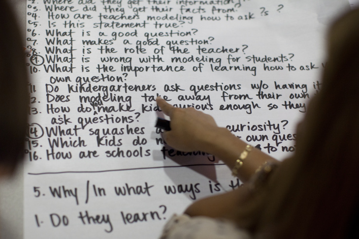 Teachers discuss a list questions they generated about students in the learning environment during a workshop at Wildwood School. The goal of the workshop was to help educators shift their classroom, allowing students to formulate their own questions instead of only reciting facts.