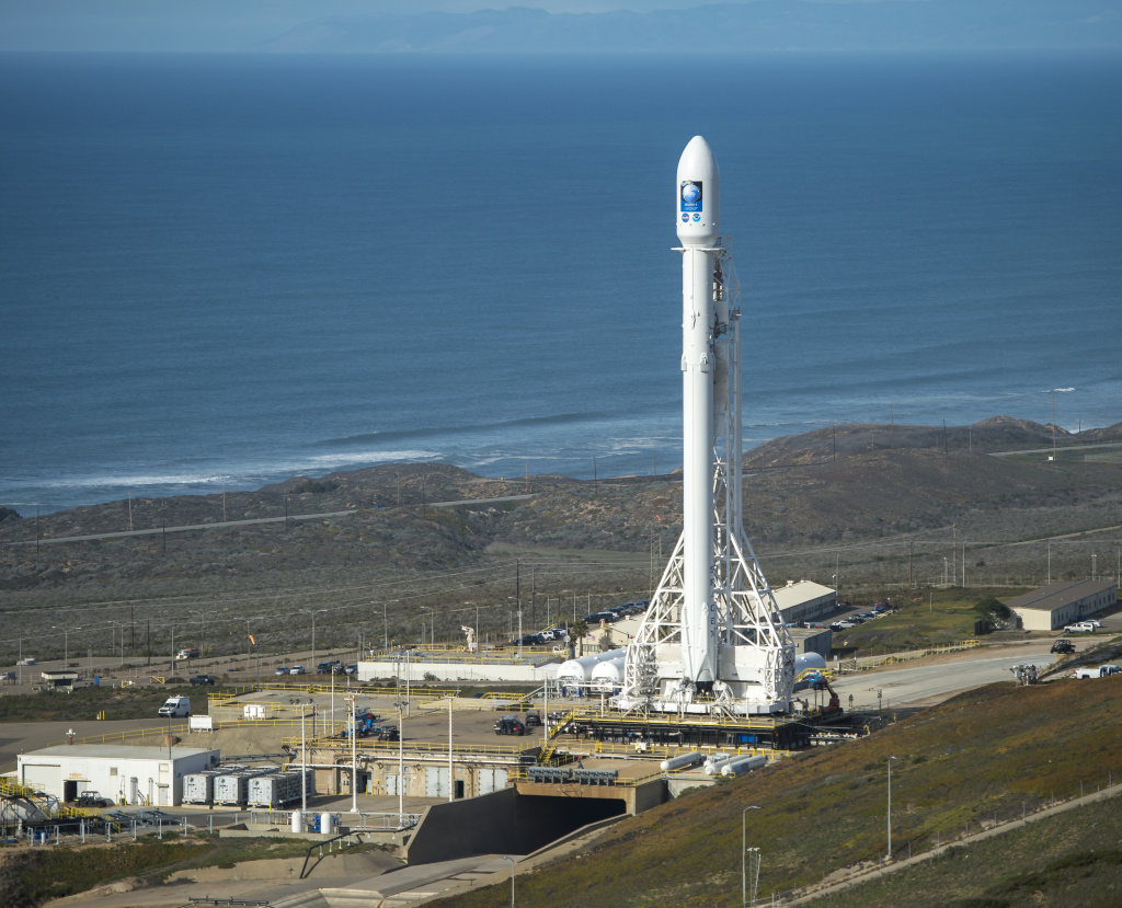 The SpaceX Falcon 9 rocket with the Jason-3 spacecraft onboard is seen at Vandenberg Air Force Base Space on January 16, 2016.