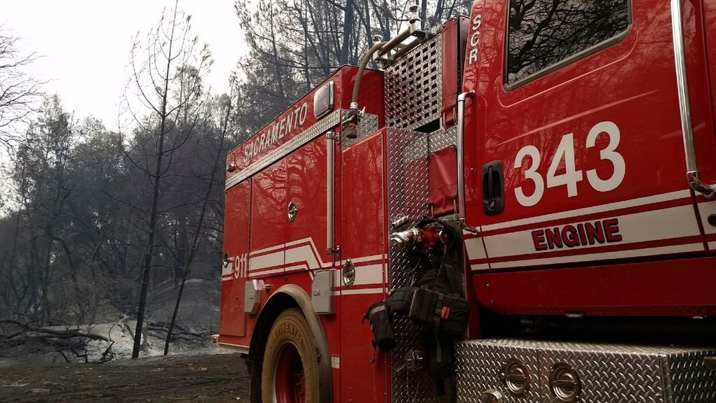 Fire crews battled the Butte Fire burning southeast of Sacramento Friday.