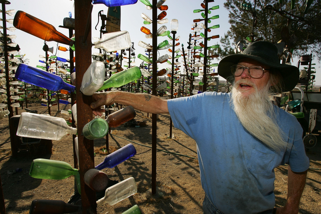 Although collectors of bottles and other items found in the desert have all but gone by the wayside, Elmer Long carries on the tradition with his continual creation of a forest of