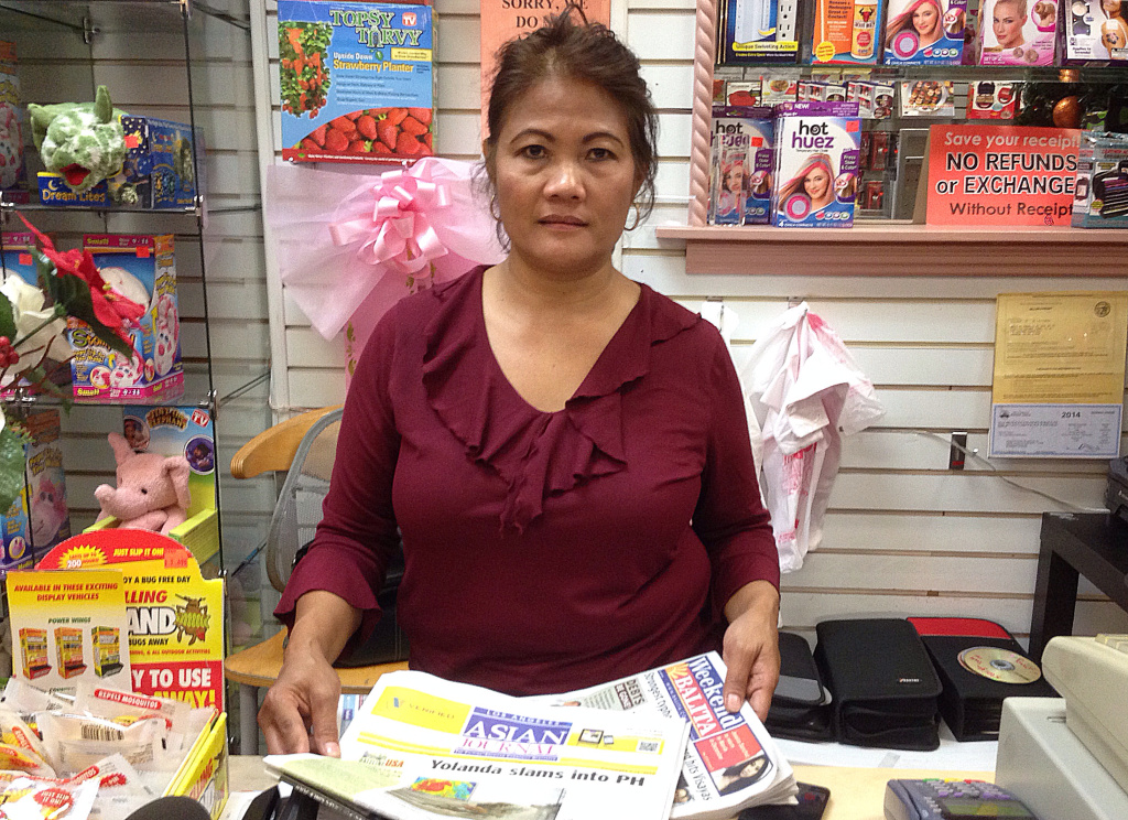 Virgie Lyons, a shop owner in Eagle Rock, has been scouring Filipino newspapers and YouTube for word about her relatives in the Philippines. She said she got a call from her brother on Sunday night.