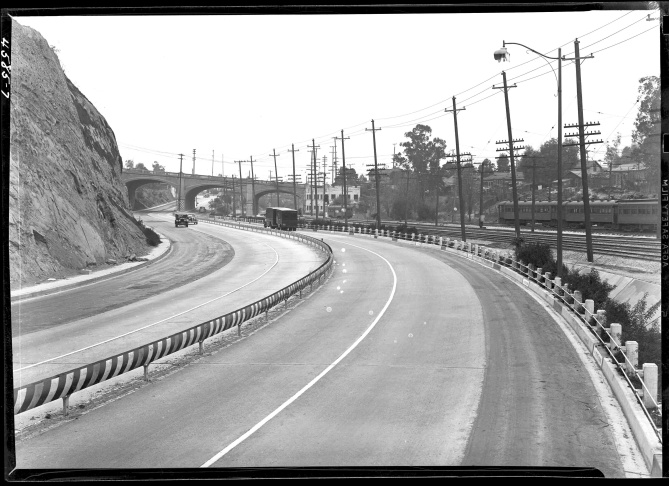 Ramona Parkway, 1938. The Ramona, the Arroyo Seco and the Cahuenga Pass Parkway were the first three pieces of L.A.'s network of freeways. Photographer unknown. Los Angeles, Automobile Club of Southern California.