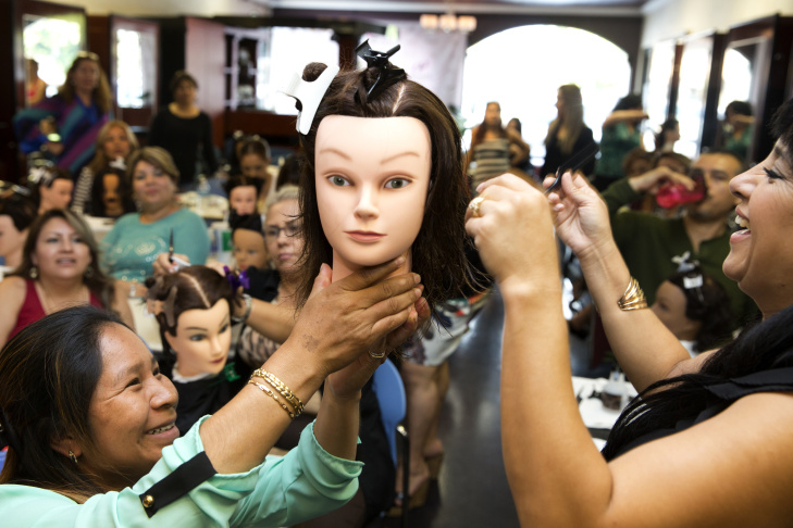 Edna Herrera in hair styling class at Cosmetica in Downey CA on October 5th, 2015.