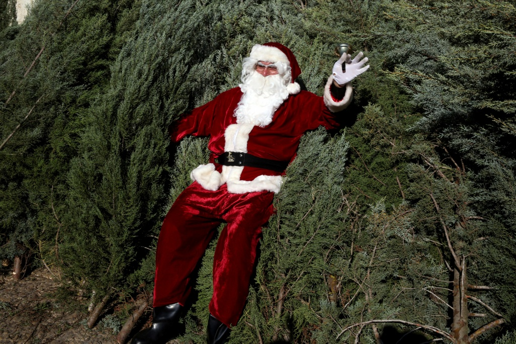 A Christian Palestinian man dressed up as Santa Claus walks waves as he sits on Christmas trees in Jerusalem's Old City on December 21, 2015.