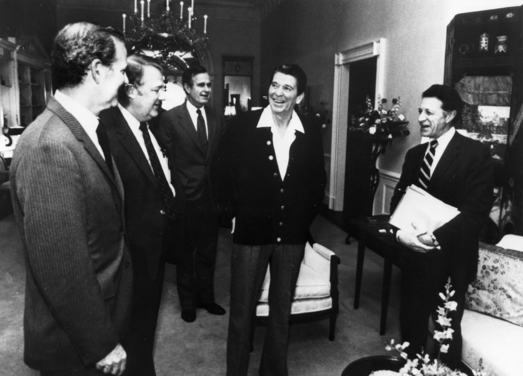 April 1981:  American statesman Ronald Reagan, 40th president of the United States, at a cabinet meeting in the family quarters of the White House, Washington DC.