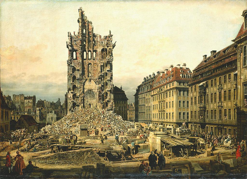 The Demolition of the Ruins of the Kreuzkirche, 1765, Bernardo Bellotto, oil on canvas. Gemäldegalerie Alte Meister, Staatliche Kunstsammlungen, Dresden.