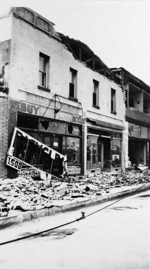 Photograph of a view of earthquake damage in Long Beach, 1933.