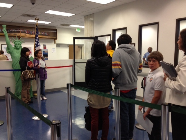 Inside the U.S. Citizenship and Immigration Services offices in downtown Los Angeles. Some family members of U.S. citizens awaiting visas are waiting longer as the agency deals with additional paperwork, following the start of the Deferred Action for Childhood Arrivals program in 2012.
