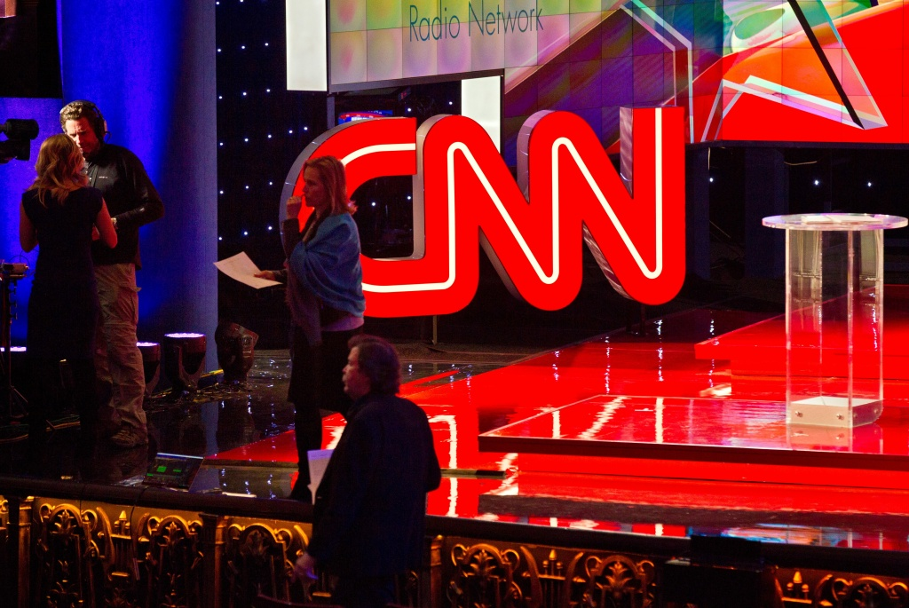 The stage is set for the Republican presidential debate, hosted by CNN, at The Venetian hotel in Las Vegas, Nevada, December 15, 2015.
