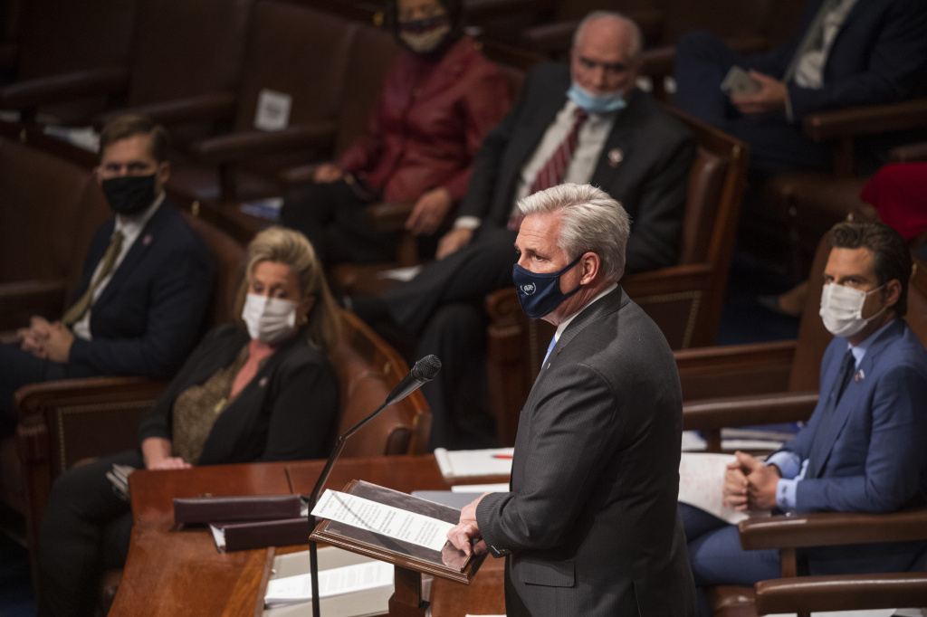 House Minority Leader Kevin McCarthy, R-Calif., speaks in the House Chamber.
