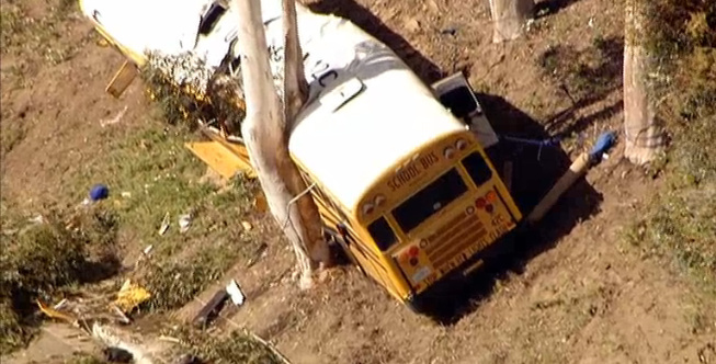 The driver of this school bus is charged with not disclosing he had a condition at the time of this crash that caused him to get dizzy and black out. The middle school students aboard were injured, four seriously, when the driver passed out and the bus crashed into a bunch of trees.